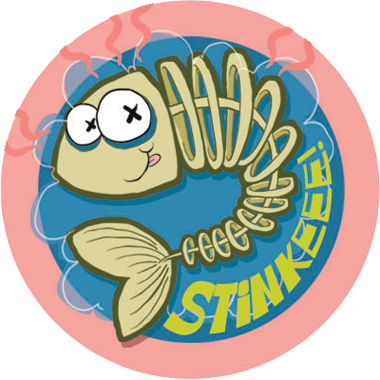 The stink factory dr stinky 39 s scratch n sniff stickers for Stinky fish in a can